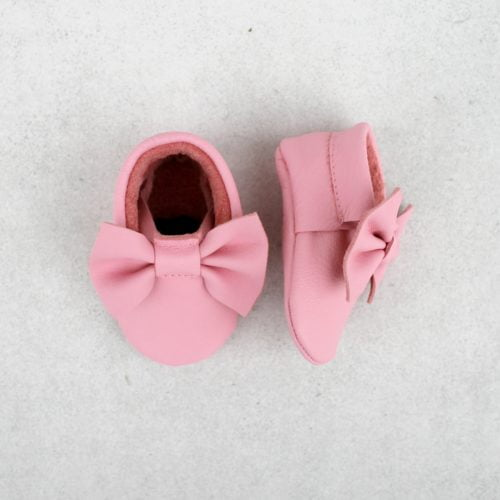 Papillon pink moccasins over