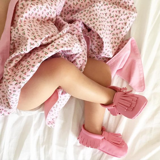 twice as fun pink moccasins, feet and blanket